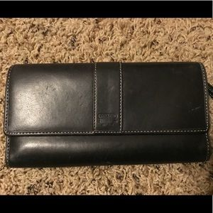 Coach Leather Wallet with Check Book Cover